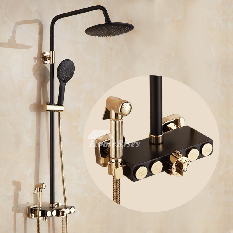 Exposed Shower Faucet Wall Mount Thermostatic White/Black Brass