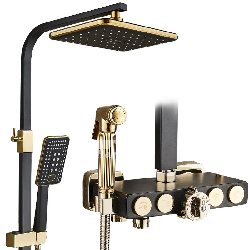 Exposed Shower Faucet Wall Mount Thermostatic White Black Brass