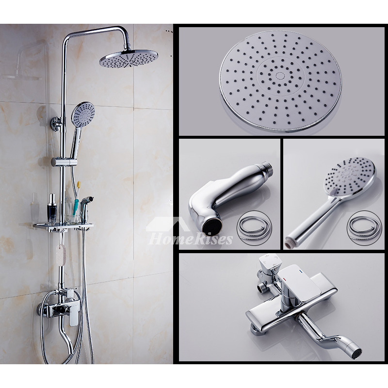 Thermostatic Bathroom Shower Faucets Silver Gold Wall