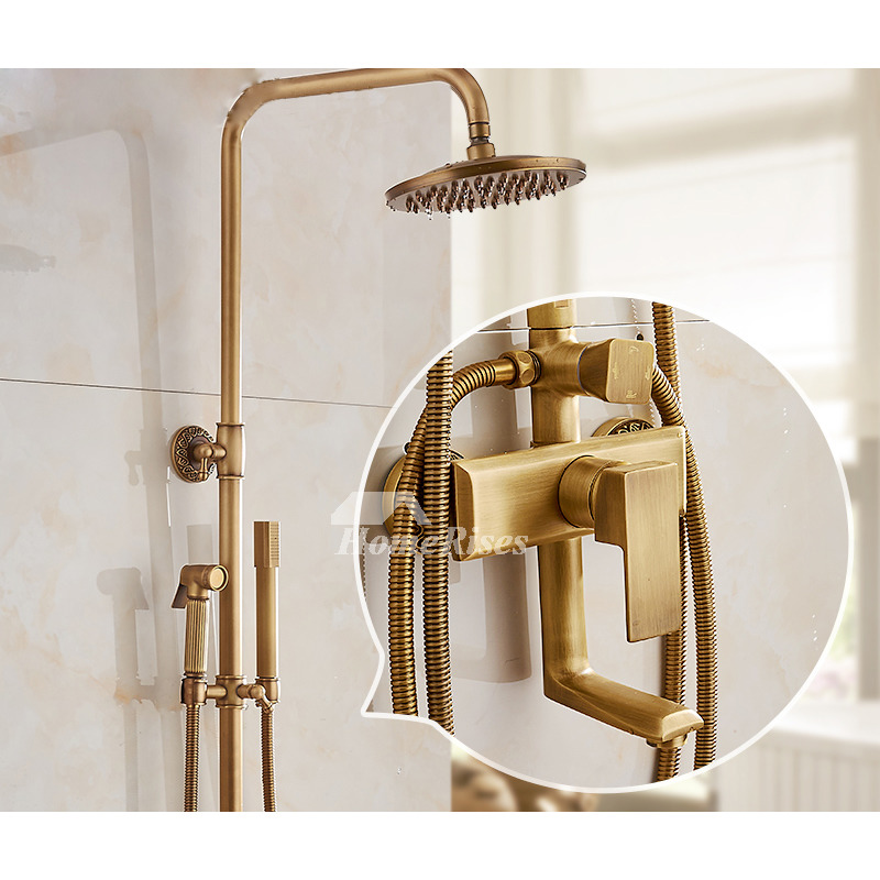 Gold Shower Faucet Wall Mount Antique Brass Brushed Single