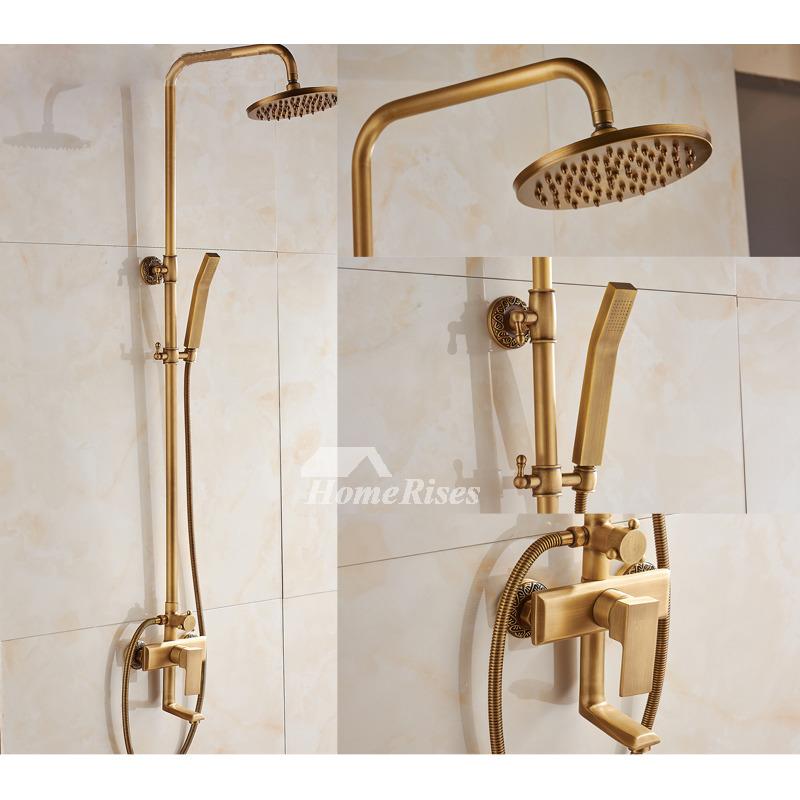 Rain Shower Faucet Wall Mount Gold