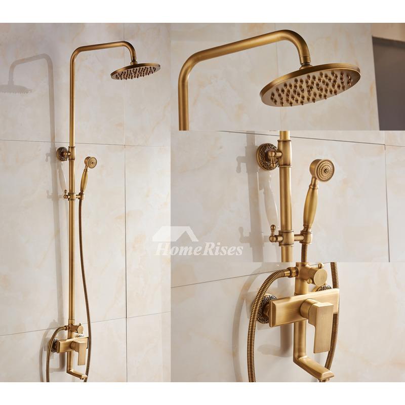 Rain Shower Faucet Wall Mount Gold Black Antique Brass Brushed