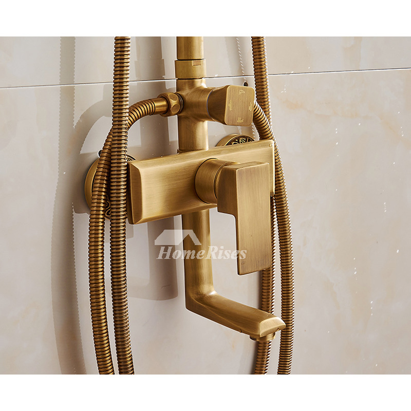 Rain Shower Faucet Wall Mount Gold Black Antique Brass Brushed