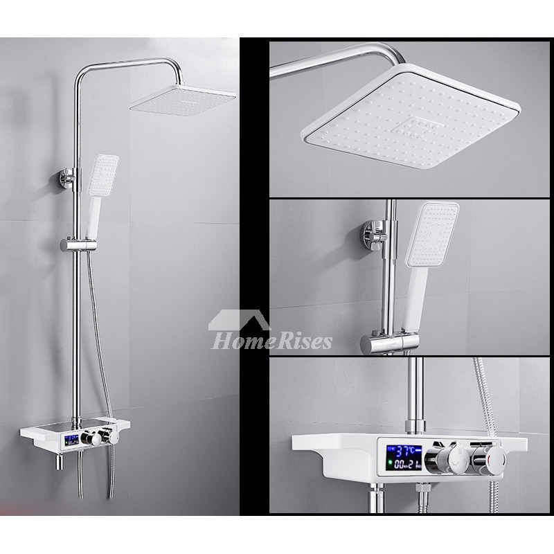 Shower Systems Exposed Modern White Black Wall Mount Fixture