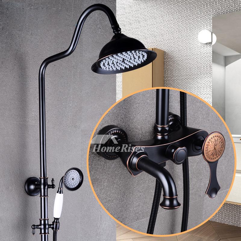 Rain Shower System Wall Mount Brass Fixture Oil-Rubbed Bronze Black
