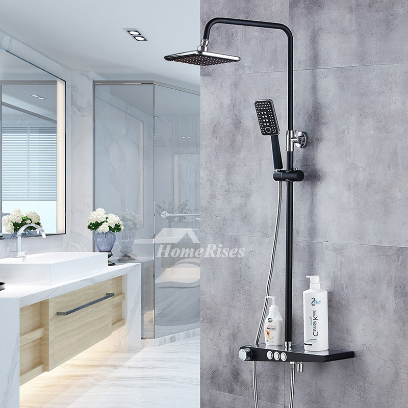 Brass Shower Fixtures Wall Mount Oil-Rubbed Bronze Square Shelf