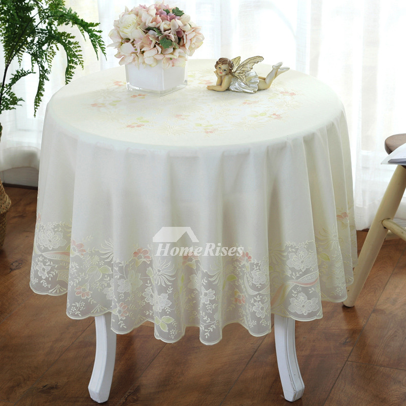 70 Inch Round Table Cloth.70 Inch Round Tablecloth Pvc Waterproof Dining Room Ivory For Sale