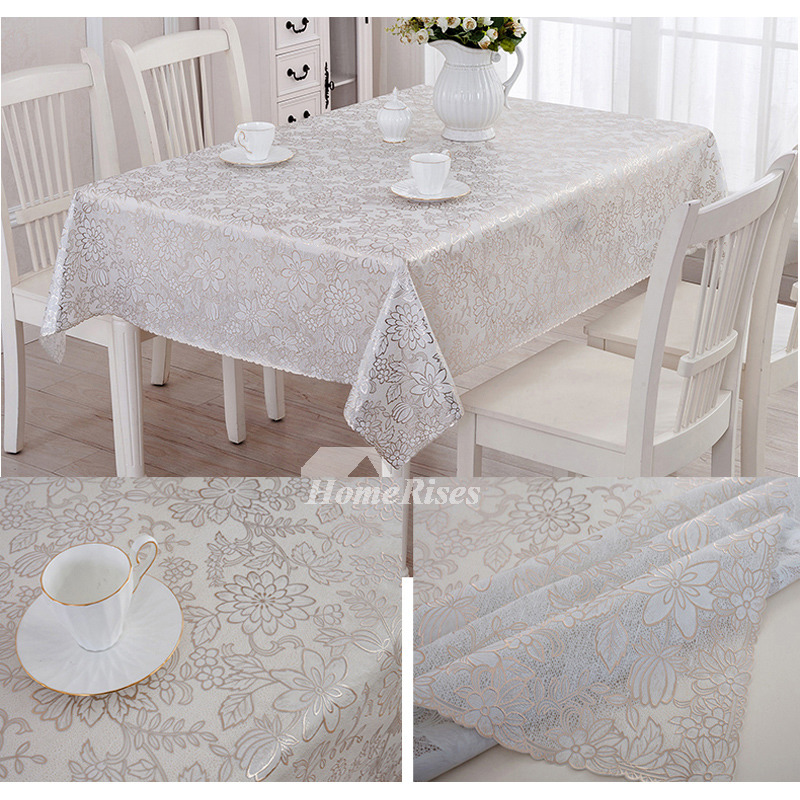 Dining Room Tablecloths: 70 Inch Round Tablecloth PVC Waterproof Dining Room Ivory
