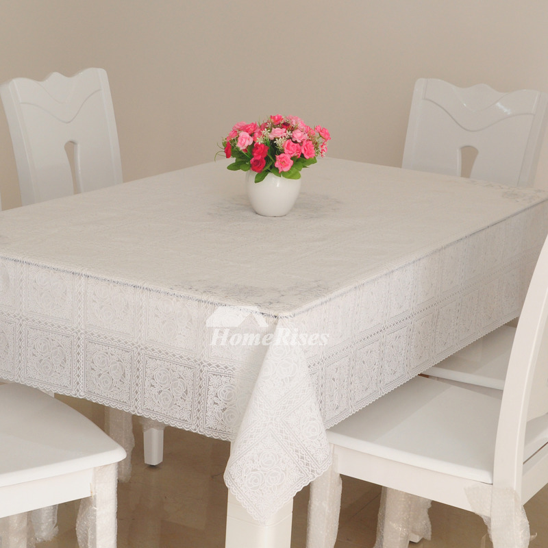 Oblong Tablecloth Waterproof PVC Square Gold/White 70 Inch ...