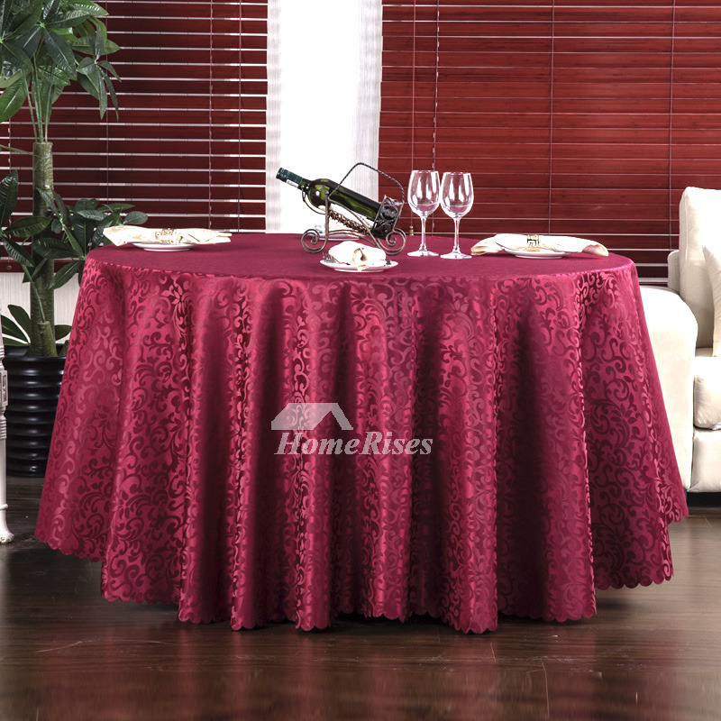 Burgundy 120 Round Tablecloth White Gold Brown Dining Room
