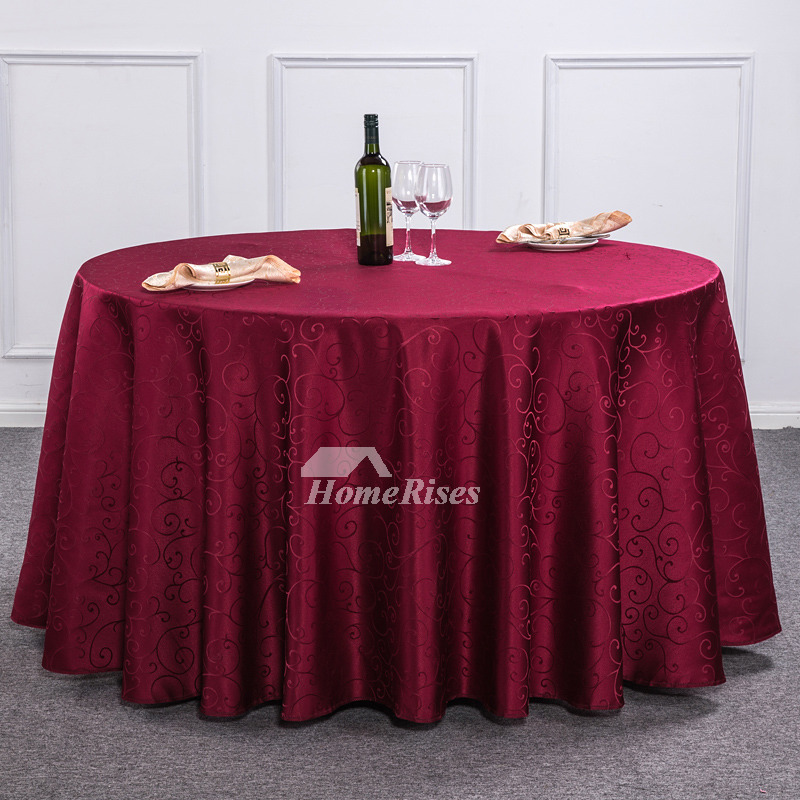 Light Brown Burgundy Red Ivory 120 Inch Round Tablecloth