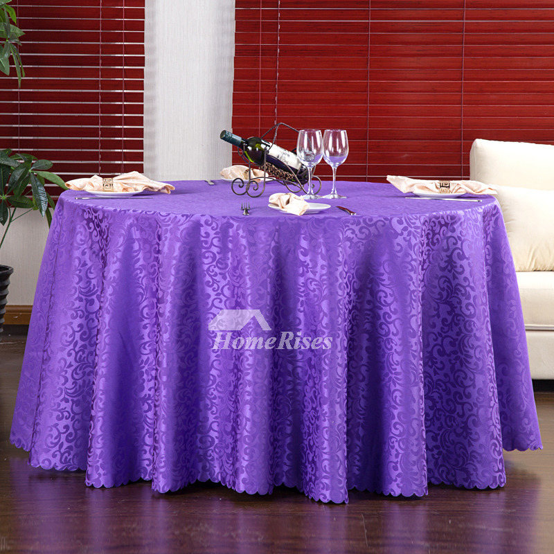 Cloth Tablecloths Red Purple White Round 70 Inch Polyester