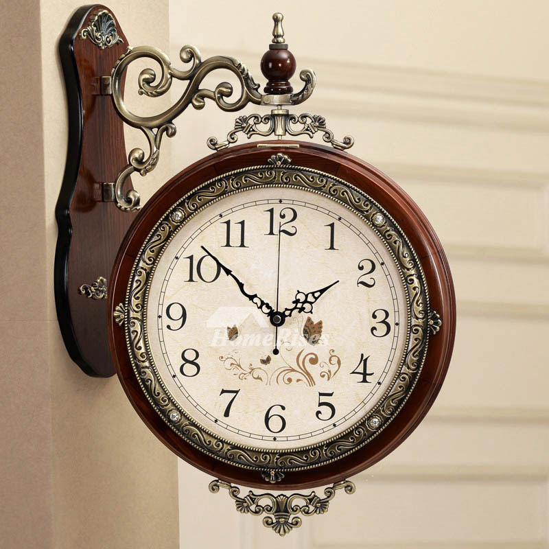 Double Sided Wall Clock Metal Wooden Brown White Analog Best