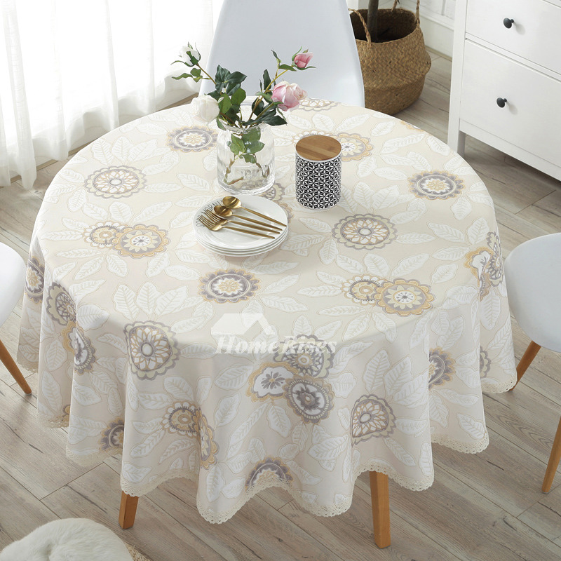 Modern Cotton Linen Cheap Tablecloths Round 70 Inch Beige Colorful