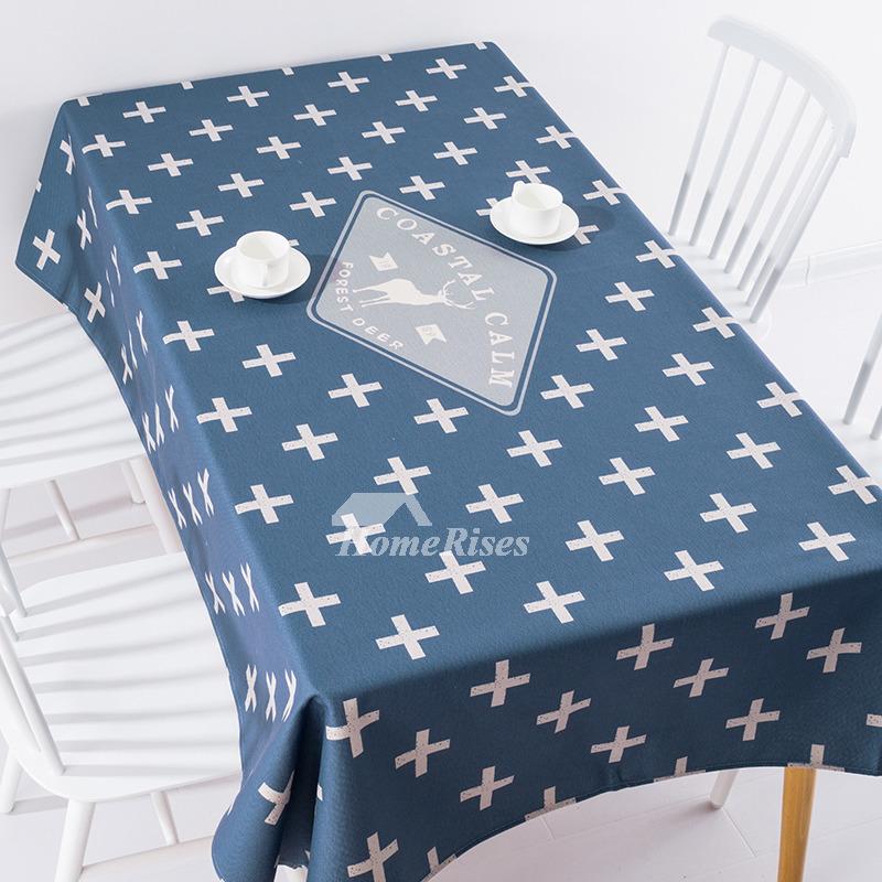Cotton Linen Tablecloth Oblong Square Blue Red Plaid 70