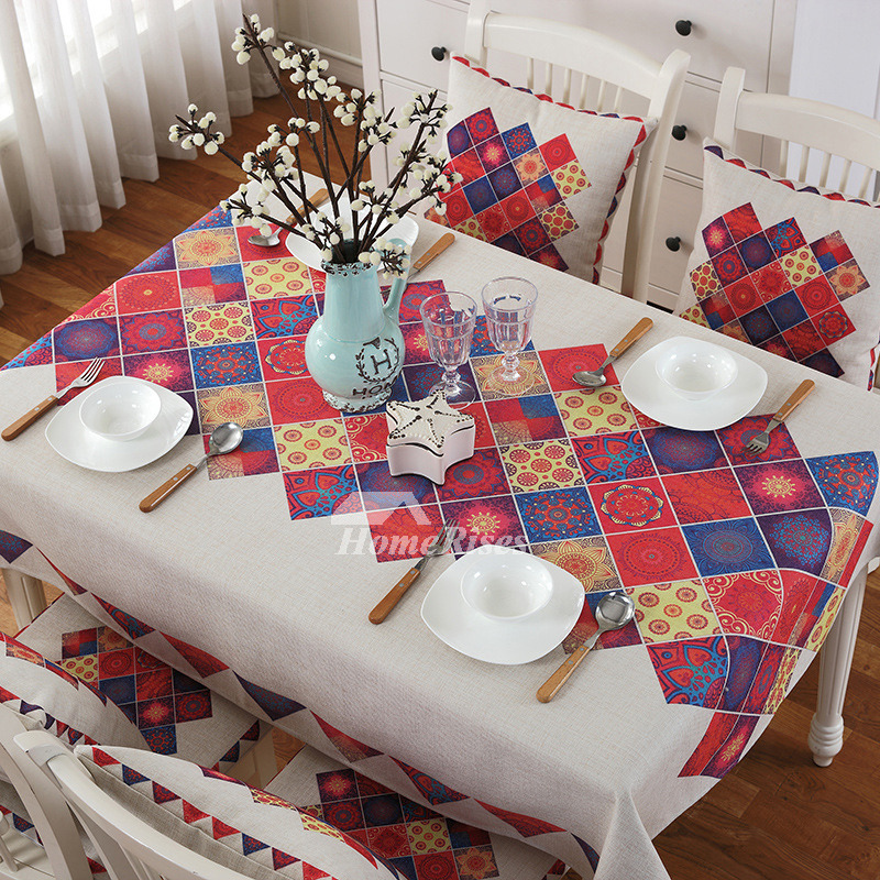 Modern Printed Pink Tablecloth White Oblong Square