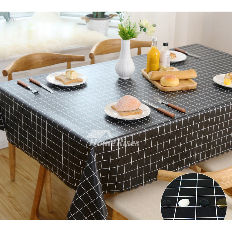 Kitchen Tablecloth Pvc Waterproof Checkered 70 Inch White