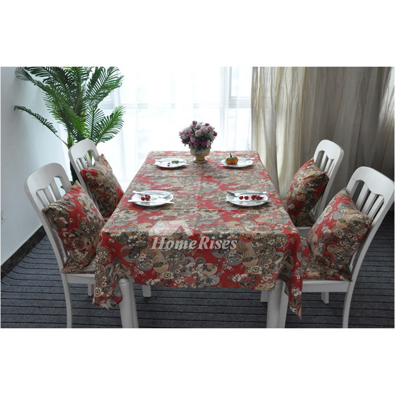 Asian Linen Table Cloth 70 Inch Oblong Square Cotton For