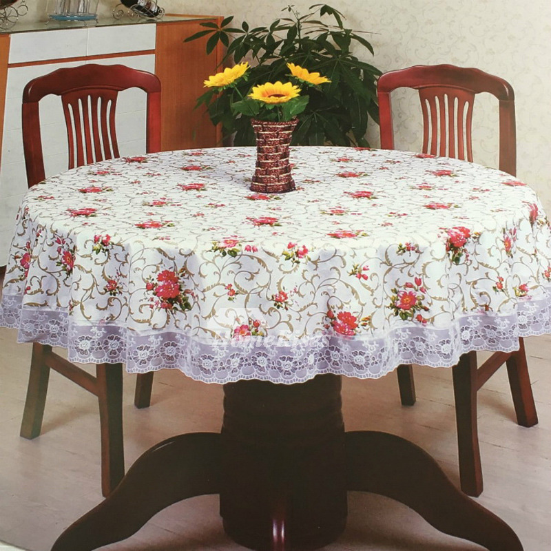 Dining Room Table Linens: Waterproof Tablecloth PVC Round Wholesale Floral Best