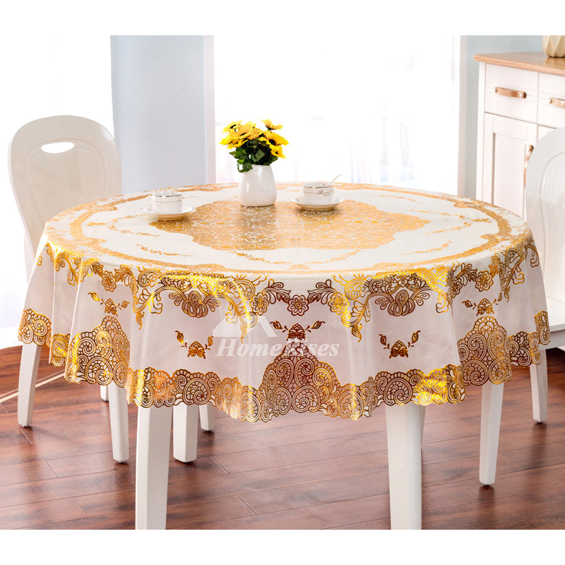 Round Kitchen Tablecloths Pvc 70 Inch Waterproof Coffee
