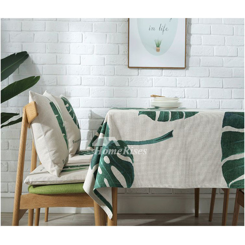Cotton Linen Rectangle Tablecloth Nordic Printed 70 Inch