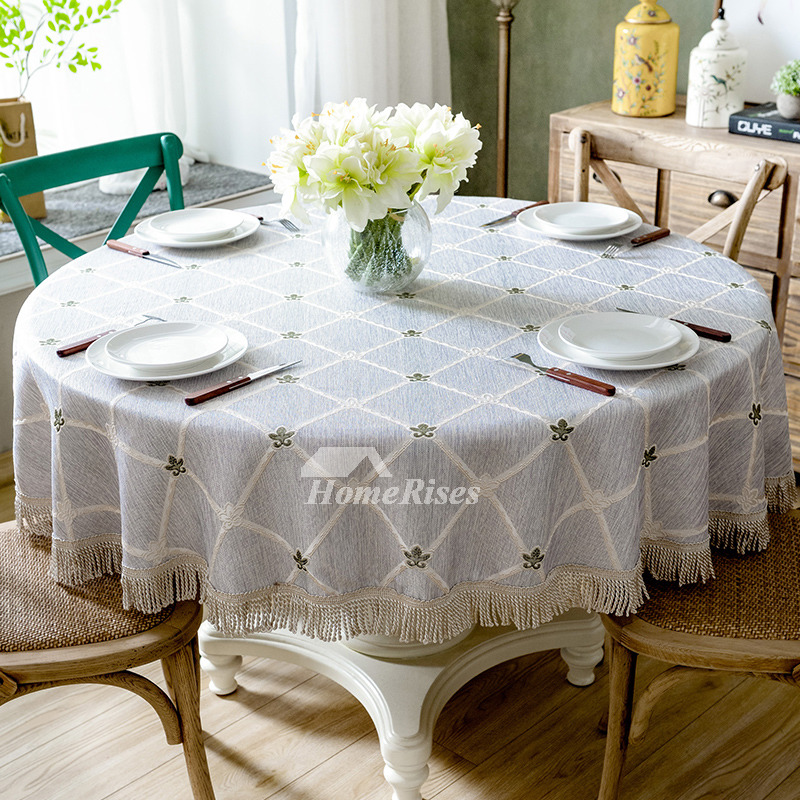 Plaid Tablecloth Green Yellow Blue Round 70 Inch