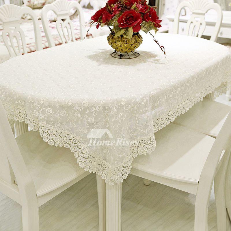 Lace Tablecloths Cotton Rectangule White 70 Inch Wholesale