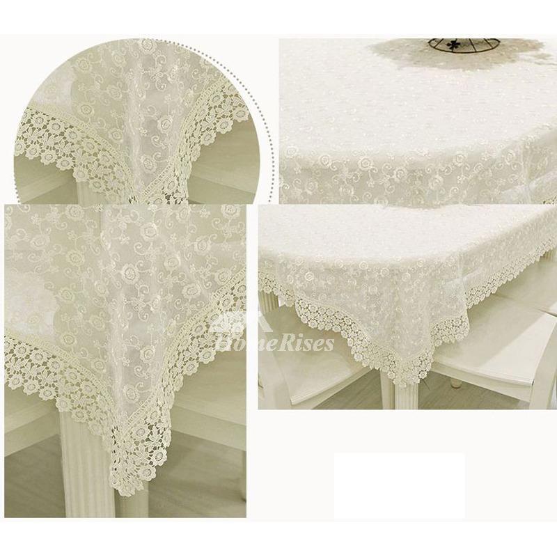 Lace Tablecloths Cotton Rectangule White 70 Inch Wholesale ...