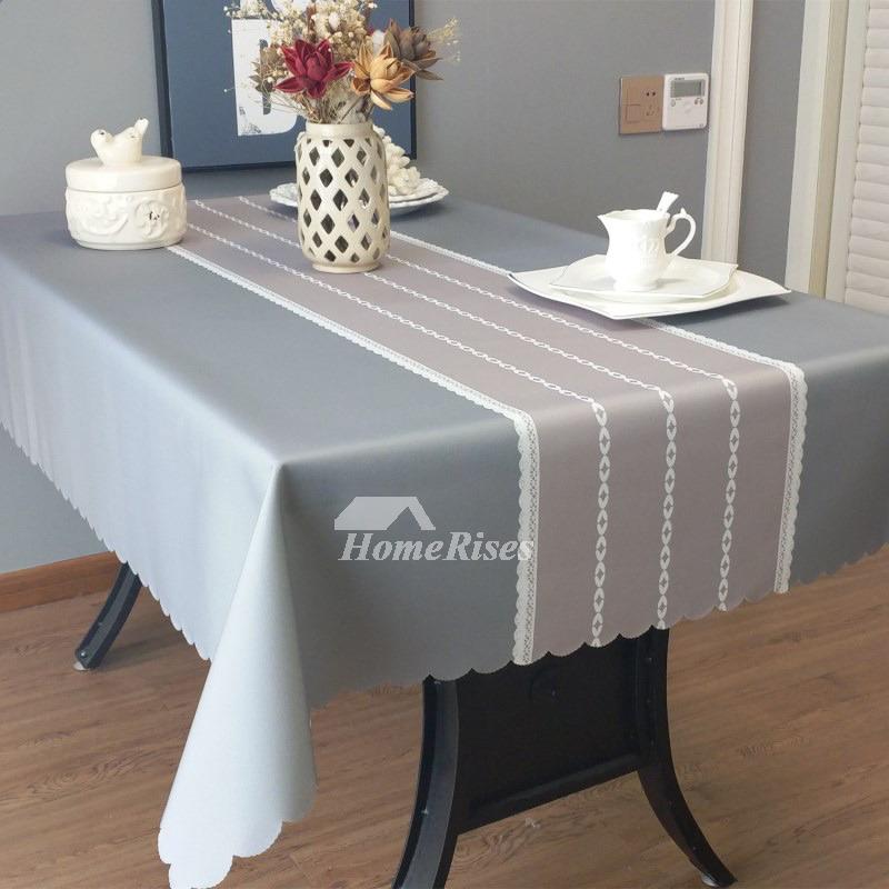 Designer Oblong Tablecloth Teal Grey Blue Fabric Vintage