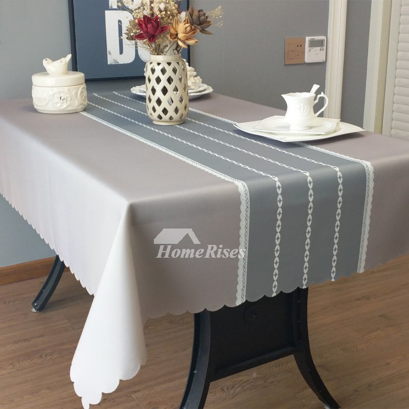 Designer Oblong Tablecloth Teal Grey Blue Fabric Vintage