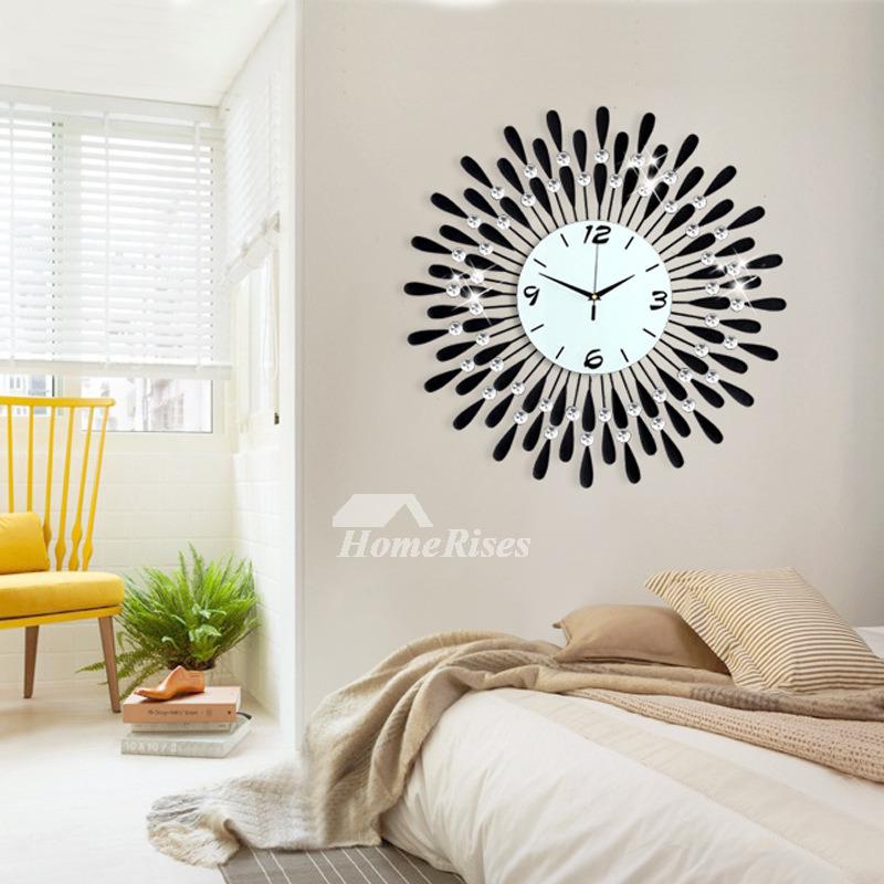 Oversized Wall Clock Modern Iron Black Silent Round Creative Decorative