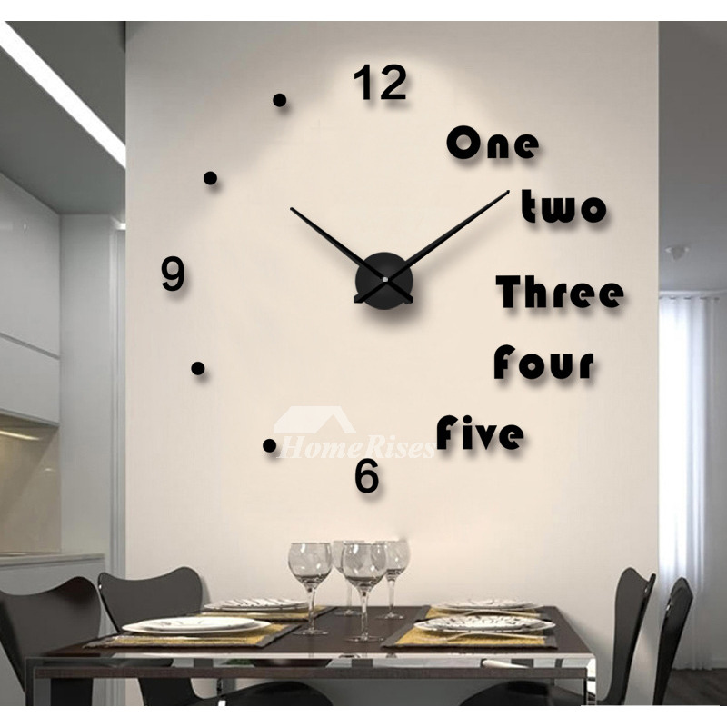 Oversized Wall Clock Decorative Mirror Creative Acrylic Gold Black Silver