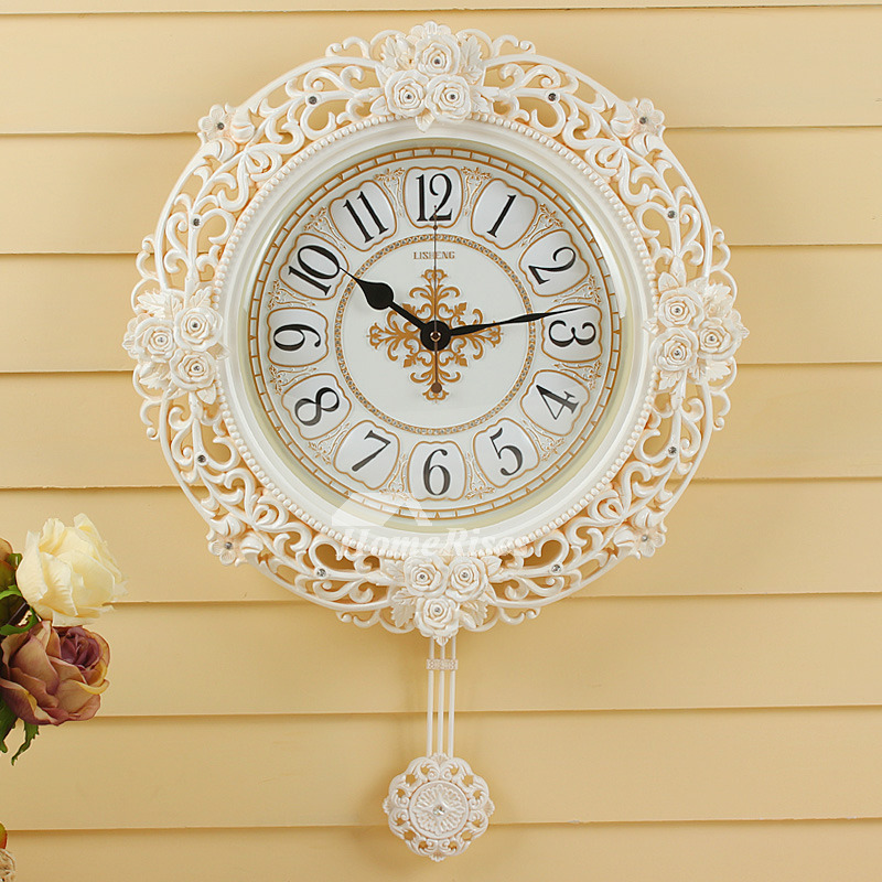 Pendulum Wall Clock White Elegant Country Beautiful Floral