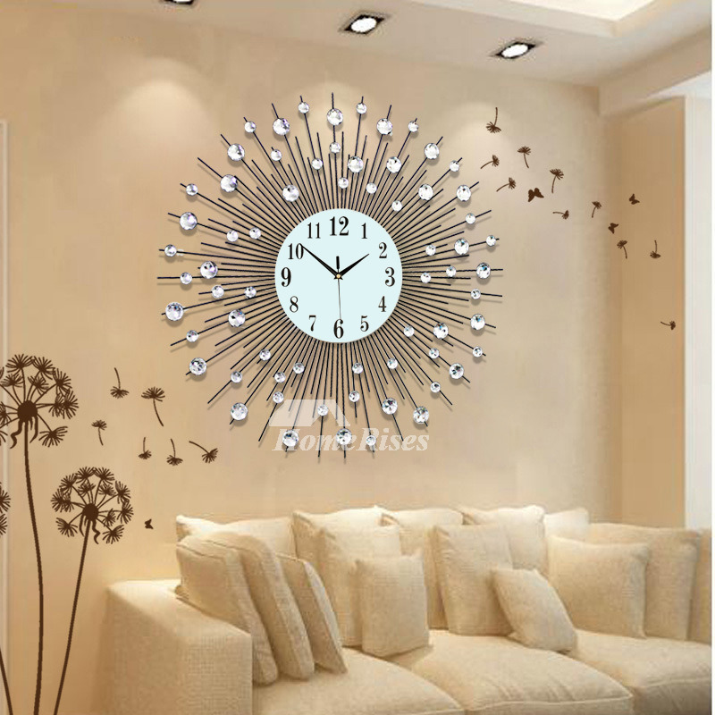 Large Wall Clock Modern Decorative Cool Metal Black Simple Personalized