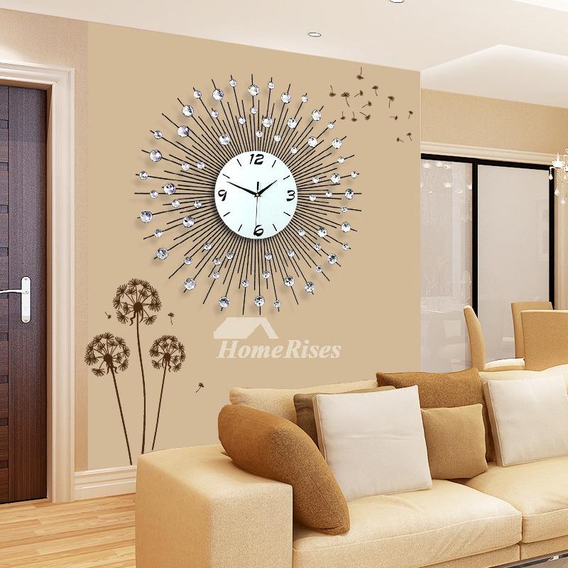 Large Wall Clock Modern Decorative Cool Metal Black Simple
