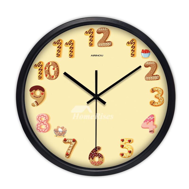 Cartoon Kids Wall Clock 12 14 16 Inch Quiet Quartz Bedroom