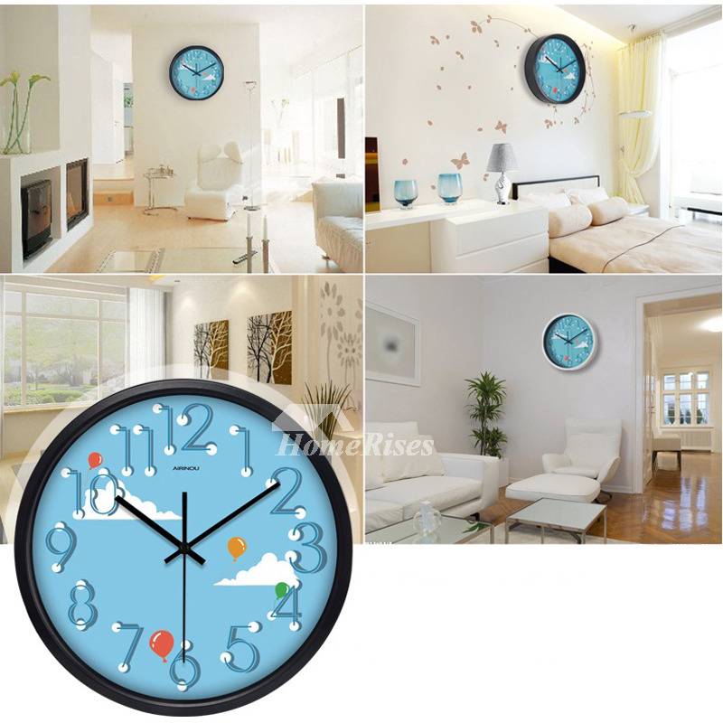 cartoon kids wall clock quiet quartz bedroom animal decorative cute - Bedroom Clock