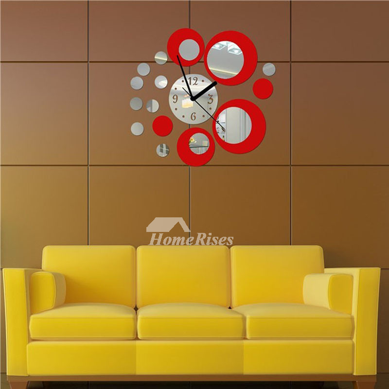 Cheap Acrylic Mirror Silent Big Wall Clock Personalized