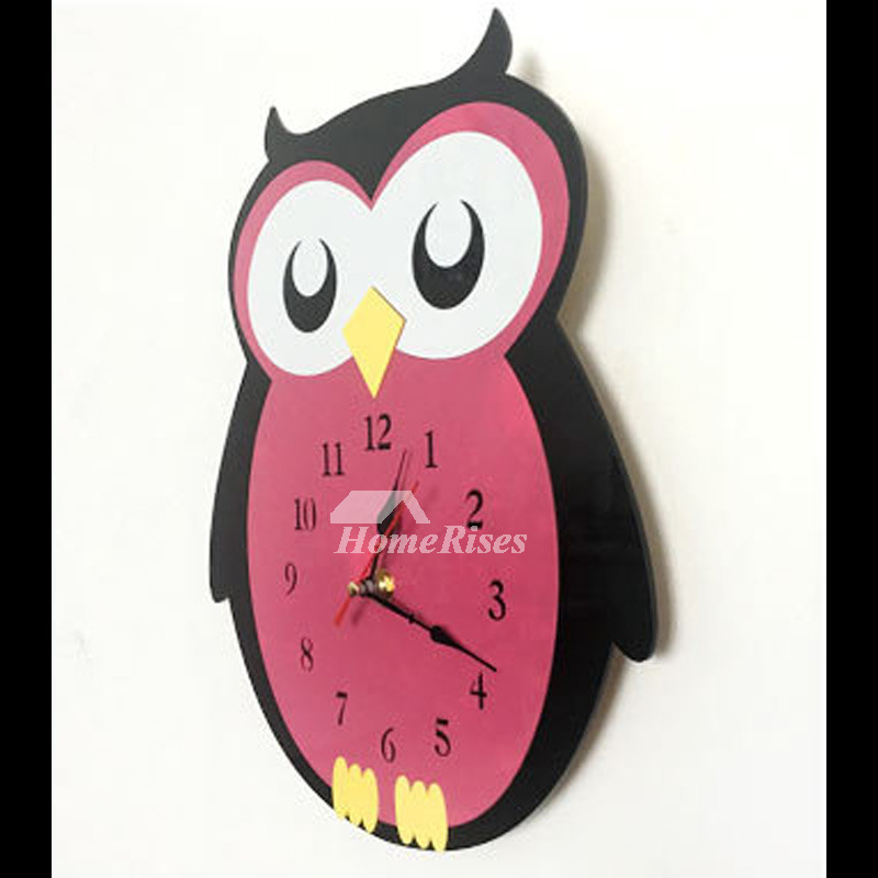 Owl Cartoon Kids Wall Clock Decorative Red Cute Acrylic