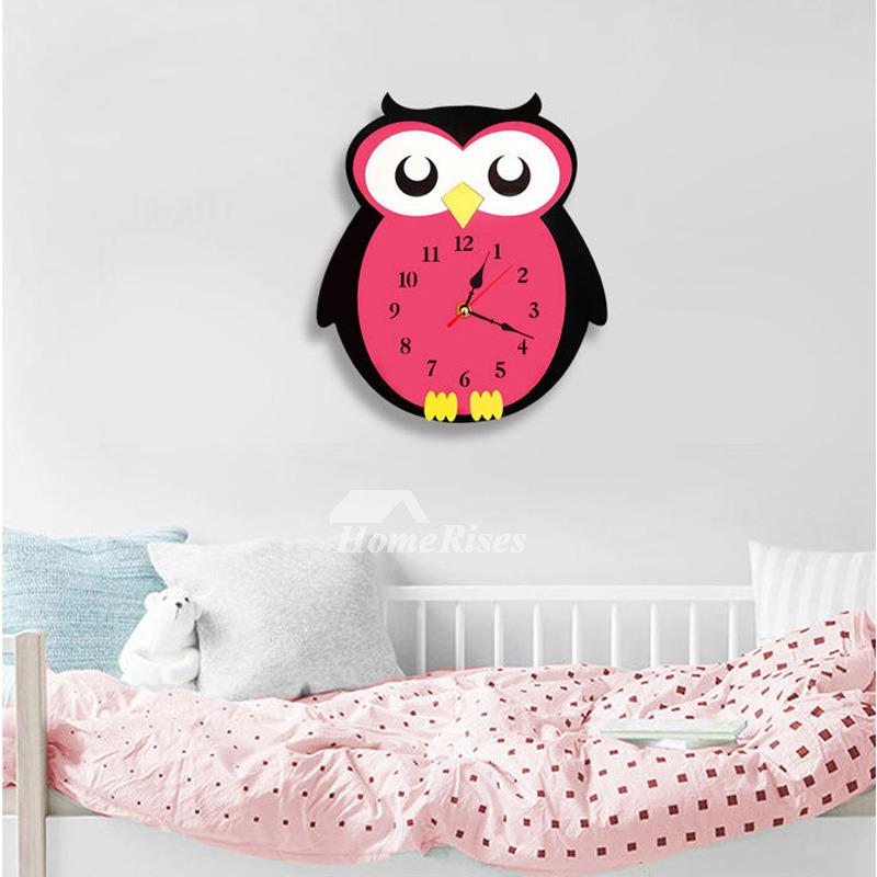 Owl Cartoon Kids Wall Clock Decorative Red Cute Acrylic