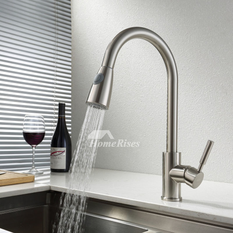 Cheap Kitchen Faucet Brass Single Handle Single Hole Brushed Pullout
