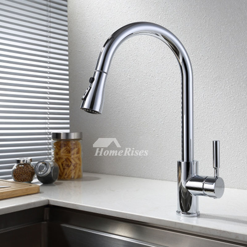 Pullout Modern Kitchen Faucet Brass Single Handle Single Hole Brushed