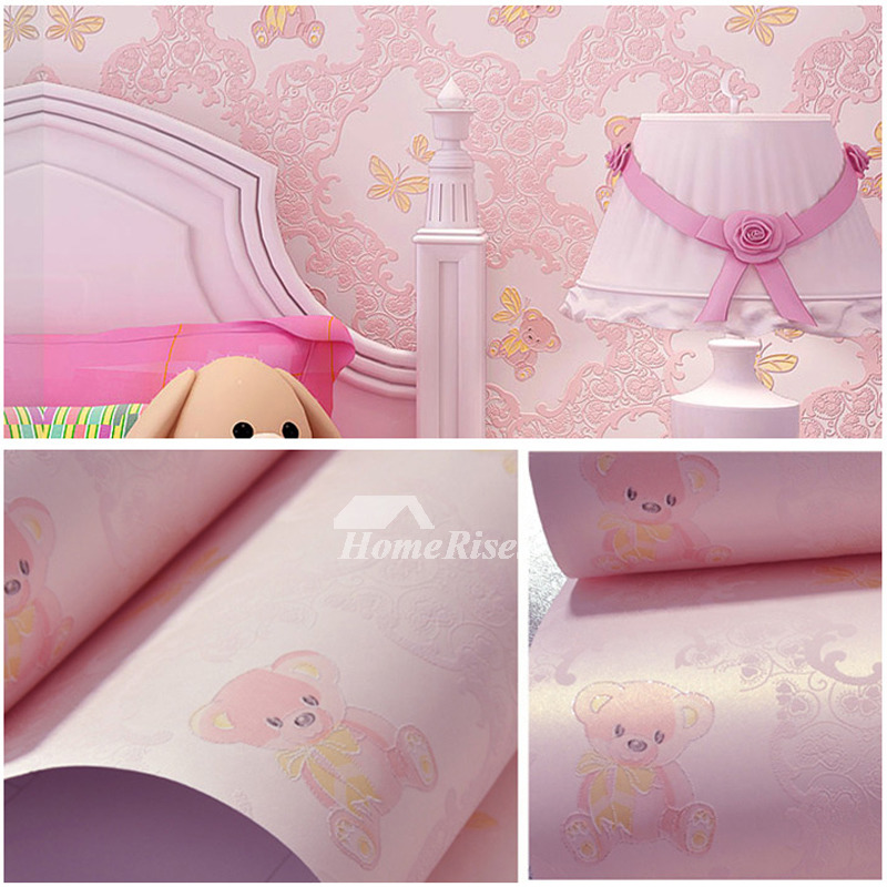 Cute Wallpaper Self Adhesive Non Woven Fabric Light BluePink Girls Love HOIS69171 1