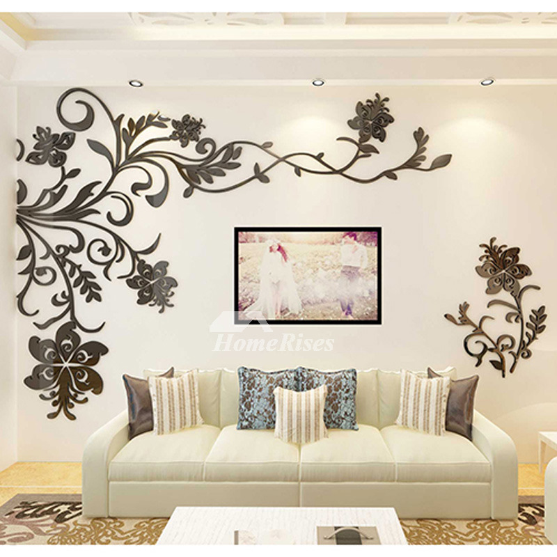 black acrylic 3d wall decor sticker large beautiful design floral