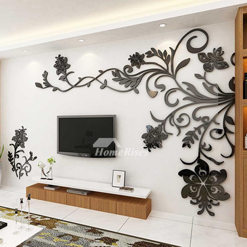 Black Acrylic 3d Wall Decor Sticker Large Beautiful Design Floral