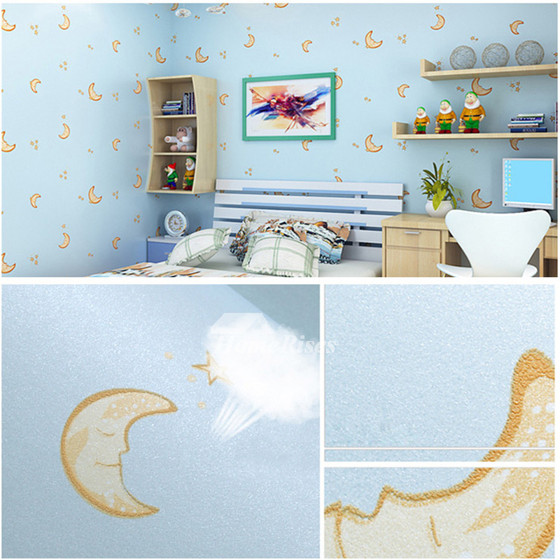 Wallpaper Self Adhesive Non Woven Fabric Light Blue Pink Gold