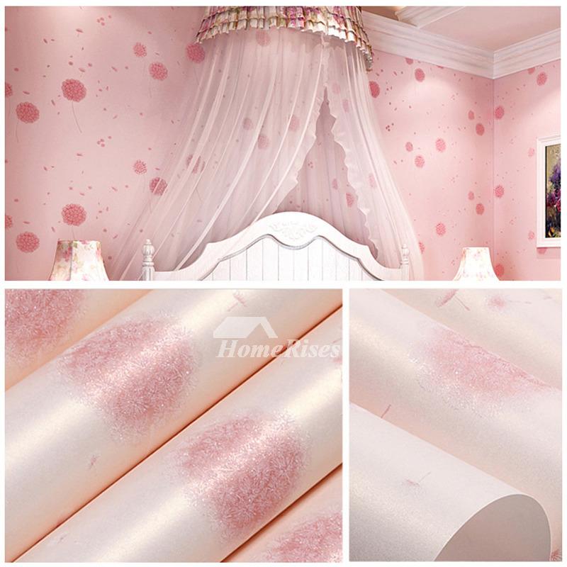 Wallpaper Self Adhesive Non Woven Fabric Light Blue Pink Gold Girls Cute