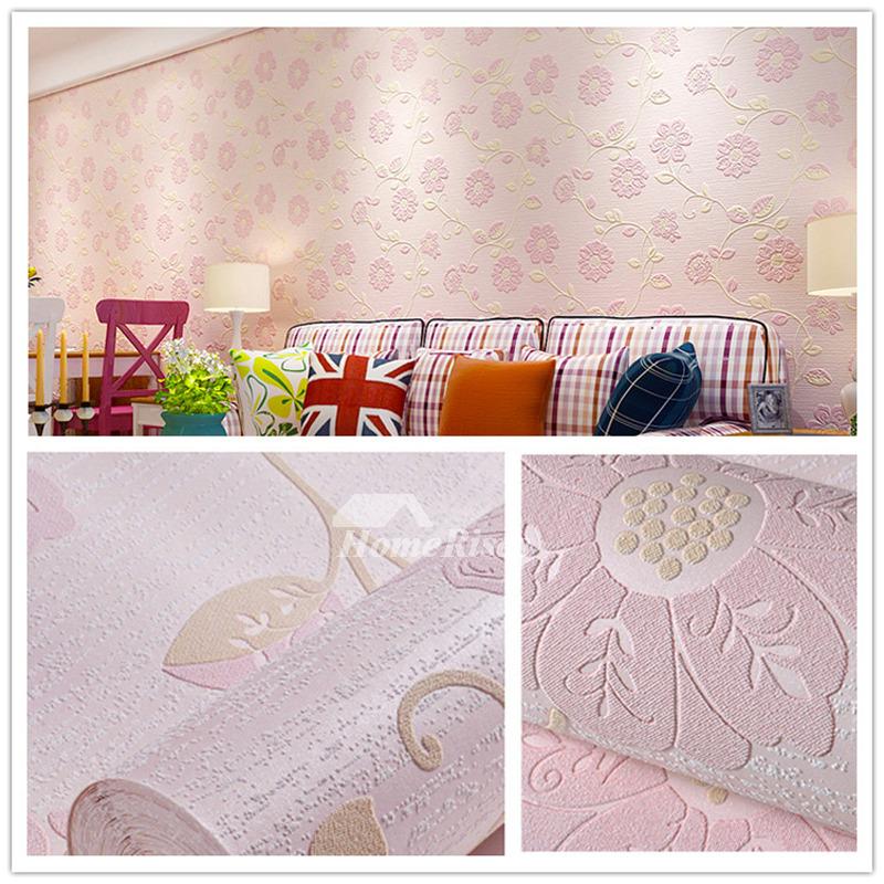 Wallpaper Self Adhesive Non Woven Fabric Light Blue Pink Cute Girls