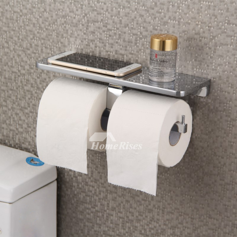 Luxury double polished chrome black toilet paper holder - Black and chrome bathroom accessories ...