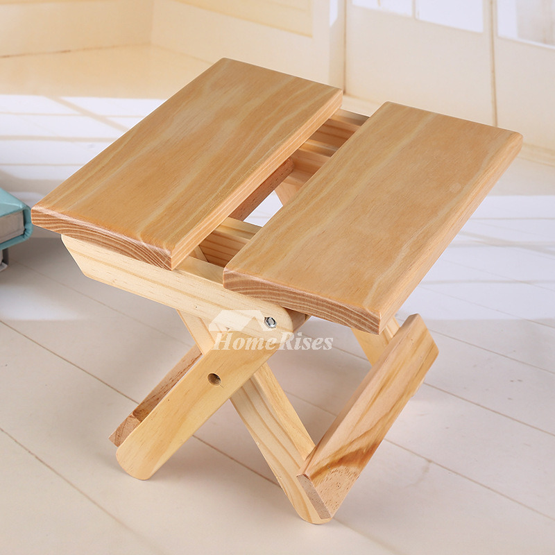 Outdoor Wood Bamboo Portable Folding Stool Kids Small